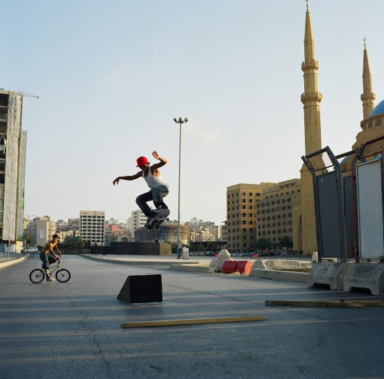 Skater flies through the air, Beirut, 2009